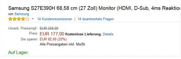 """Samsung S27E390H: 27"""" Monitor aus der Media-Markt-Werbung jetzt bei Amazon ebenfalls für 177 Euro"""