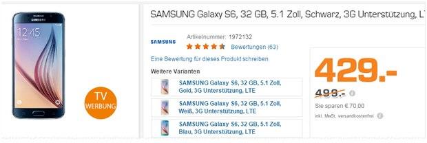 Samsung Galaxy S6 aus der Saturn-Werbung für 429 €
