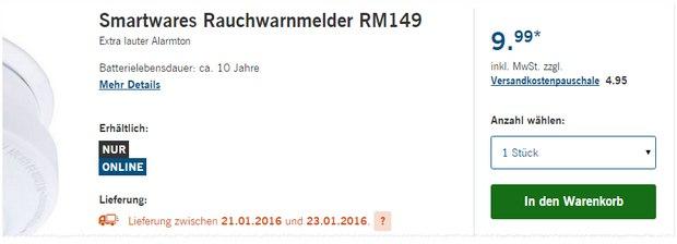 Smartwares Rauchwarnmelder RM149 als LIDL-Angebot ab 21.1.2016 für 9,99 € pro Rauchmelder