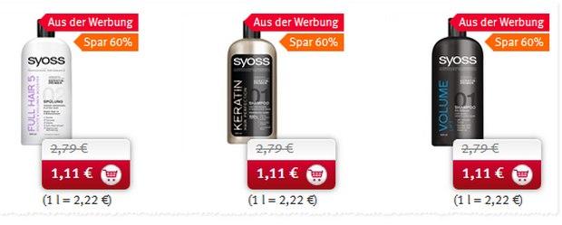 Syoss als Rossmann-Angebot ab 4.1.2016 für 1,11 €