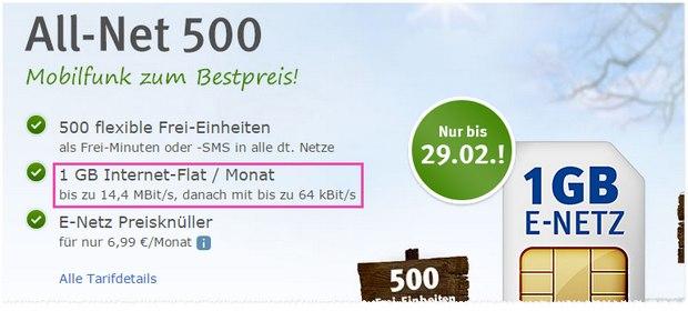 WEB.DE Handytarif im E-Netz für 6,99 Euro
