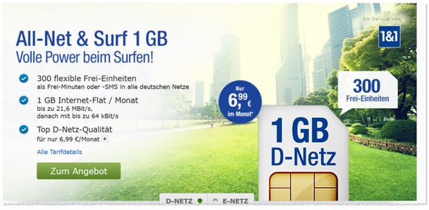 1&1 6,99 Euro Mobilfunktarif