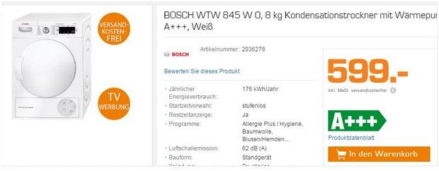 Bosch WTW 845 W Trockner als Saturn-Angebot für 599 €