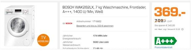 Bosch Waschmaschine WAK 282 LX als Saturn-Angebot für 369 € (TV-Werbung, ab 29.3.2016 im Markt?)