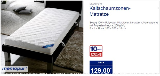 Aldi Dormia Qualitats Matratze Supercomfort Test Memopur 7 Zonen Sandwich