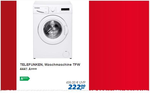 telefunken waschmaschine tfw 4441 real 27. Black Bedroom Furniture Sets. Home Design Ideas