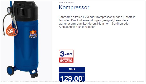 workzone kompressor als aldi s d angebot ab 27. Black Bedroom Furniture Sets. Home Design Ideas