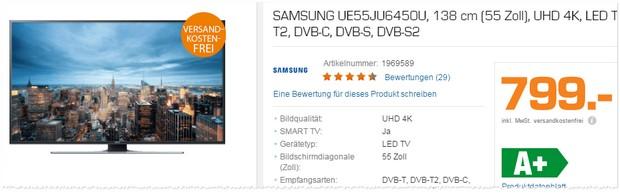 Samsung Fernseher als Saturn-Angebot ab 29.2.2016 für 799 €