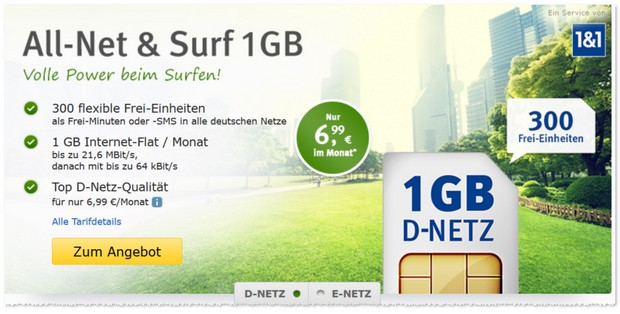 WEB.DE Handytarif All-Net & Surf im D2-Netz