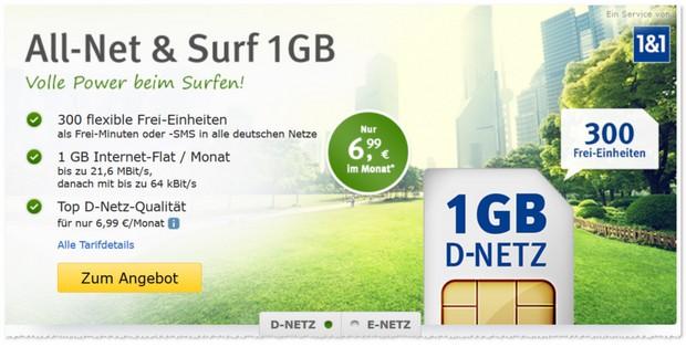 WEB.DE Handytarif All-Net & Surf im D2-Netz