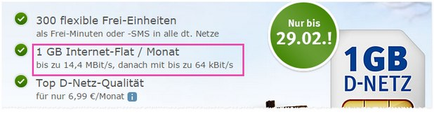 WEB.DE Handytarif im D2-Netz für 6,99 Euro