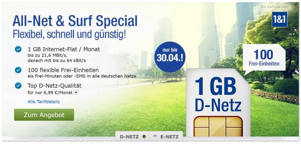 GMX Mobilfunk-Tarif All-Net & Surf Special