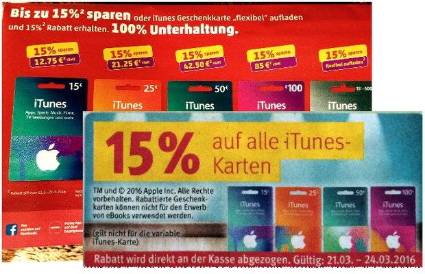 iTunes Karten Rabatt ab 21.3.2016 bei Rossmann und Penny mit 15% Preisnachlass