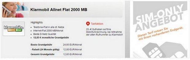 Klarmobil D1 Allnet-Flat 2000 mit 2GB Internet-Flat für 12,85 € bei Handyflash