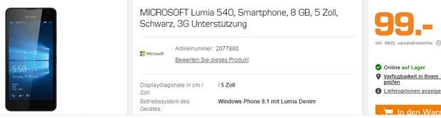 Lumia 540 als Saturn-Angebot ab 14.3.2016 (Montag) für 99 € im Markt - schon jetzt im Netz