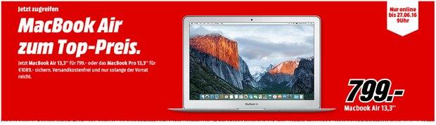 MacBook Air (13,3 Zoll) in der Media Markt Brand Night bis Montag, 27.6.2016 (9 Uhr), für 799 €