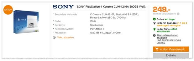 PlayStation 4 Angebot bei Saturn für 249 Euro