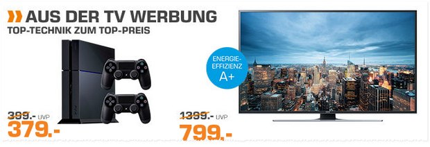 PlayStation 4 als Saturn-Angebot aus der TV-Werbung für 379 € - mit 2 Controllern und 1TB
