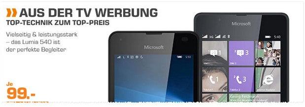 Saturn Montagsangebot ab 14.3.2016 aus der TV-Werbung: Lumia 540 für 99 Euro