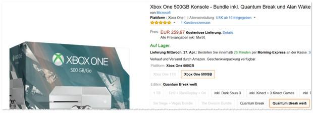 Xbox One als Quantum Break Bundle