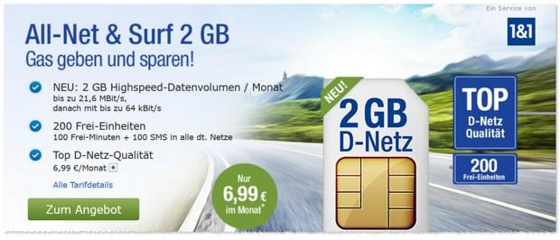 1&1 GMX Tarif All-Net & Surf im D-Netz für 6,99 € mit 2 GB Internet-Flat