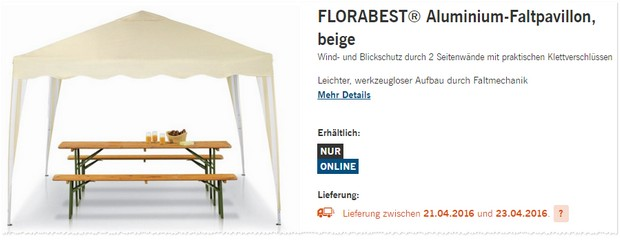 florabest pavillon als lidl angebot ab 21. Black Bedroom Furniture Sets. Home Design Ideas