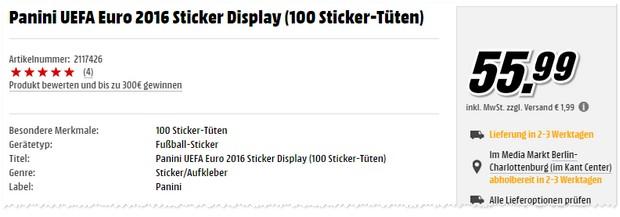 Panini Album Sticker Display mit 100 Tüten bei Media Markt