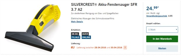 Silvercerst Akku-Fenstersauger SFR 3.7 A2 als LIDL-Angebot ab 28.4.2016