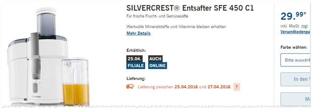 Silvercrest Entsafter als LIDL Angebot ab 29.12.2016