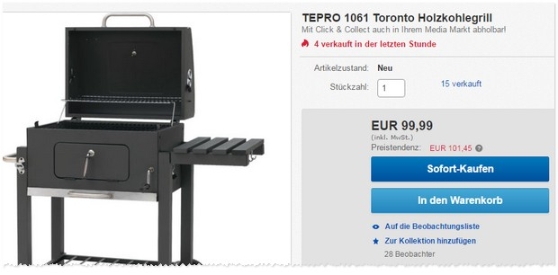 tepro toronto xxl grill als real deal am 25 f r 139. Black Bedroom Furniture Sets. Home Design Ideas