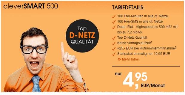 callmobile Handytarif für 5 Euro: clever SMART 500
