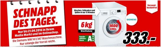 Media Markt Schnapp des Tages am 21.4.2016: Siemens Waschmaschine WM14E347 für 333 €