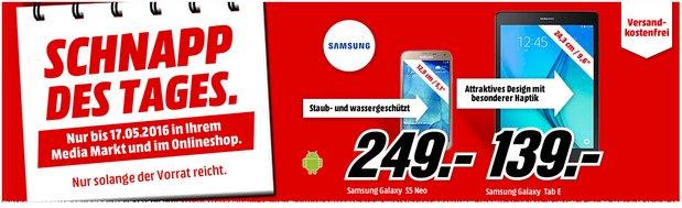 Samsung Tablet Galaxy Tab E als Schnapp des Tages Angebot am 17.5.2016 für 139 € - neben dem Samsung Galaxy S5 Neo