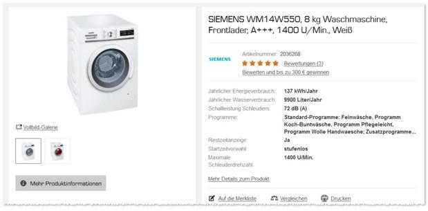 Siemens Waschmaschine WM14W550 für 499 € als Saturn Angebot