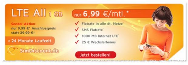 Angebot für die SimDiscount Flatrate Handytarife LTE All