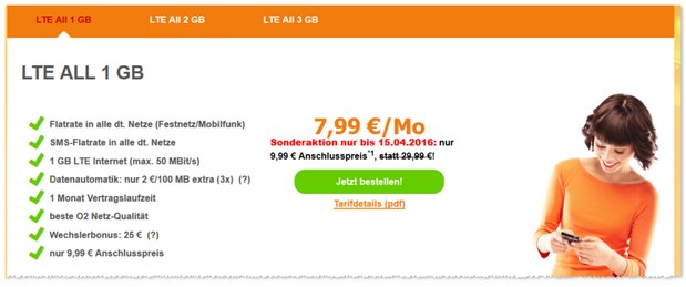 SimDiscount Handytarife LTE All mit Allnet-Flatrate