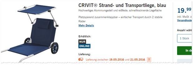 Crivit strandliege  Crivit Strandliege als LIDL Angebot ab 19.5.2016