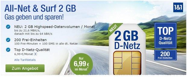 GMX Handytarif All-Net & Surf 2 GB für 6,99 €
