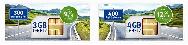 GMX Handytarife mit 3GB / 4GB für 9,99 € / 12,99 €