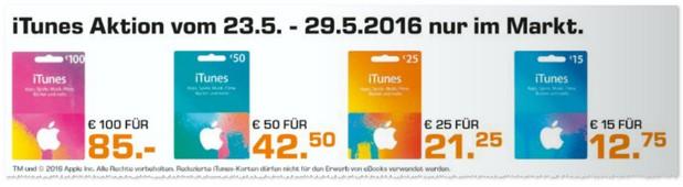 iTunes Karten-Rabatt-Angebot bei Saturn ab 23.5.2015