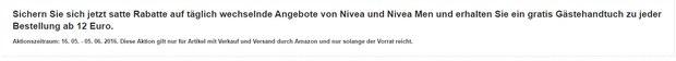 NIVEA Gästehandtuch gratis zum Kauf von NIVEA-Produkten ab 12 € über Amazon