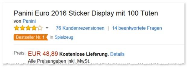 Panini EM 2016 Sammel-Sticker günstig im Angebot