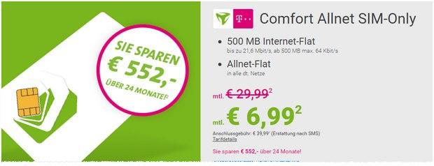 Telekom Comfort Allnet SIM-only für 6,99 Euro