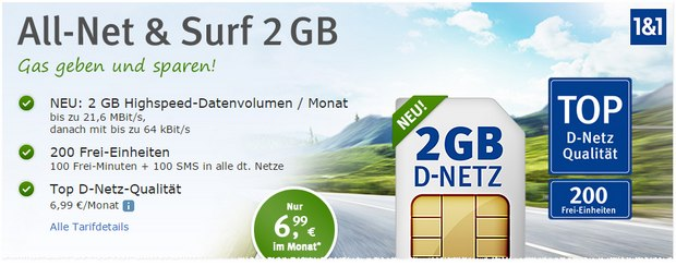WEB.DE Handytarif All-Net & Surf 2GB