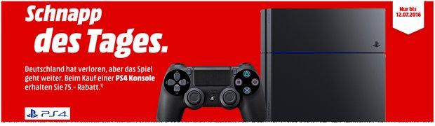 Media Markt Schnapp des Tages am 11.7.2016 und 12.7.2016: 75 € Rabatt auf die Sony PlayStation 4