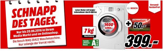 Media Markt Schnapp des Tages am 20.6.2016 mit Bosch Waschmaschine WAQ 28422 für 399 € + 50 € Coupon