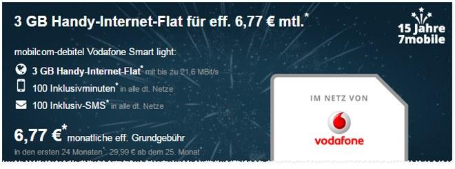 Vodafone Smart Light für 6,77 Euro als 7mobile-Geburtstagsangebot