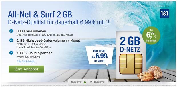 1&1 / GMX Mobilfunk-Tarif ab 6,99 € im Monat