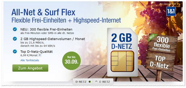 1&1 GMX Tarif: All-Net & Surf Flex im September 2016