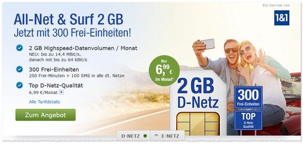 1und1 Vertrags-Special: Allnet & Surf ab 6,99 Euro